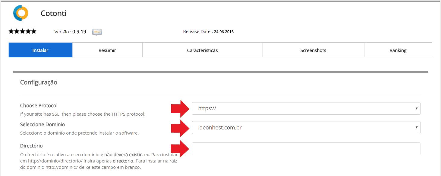 Instalador instalação como instalar Cotonti