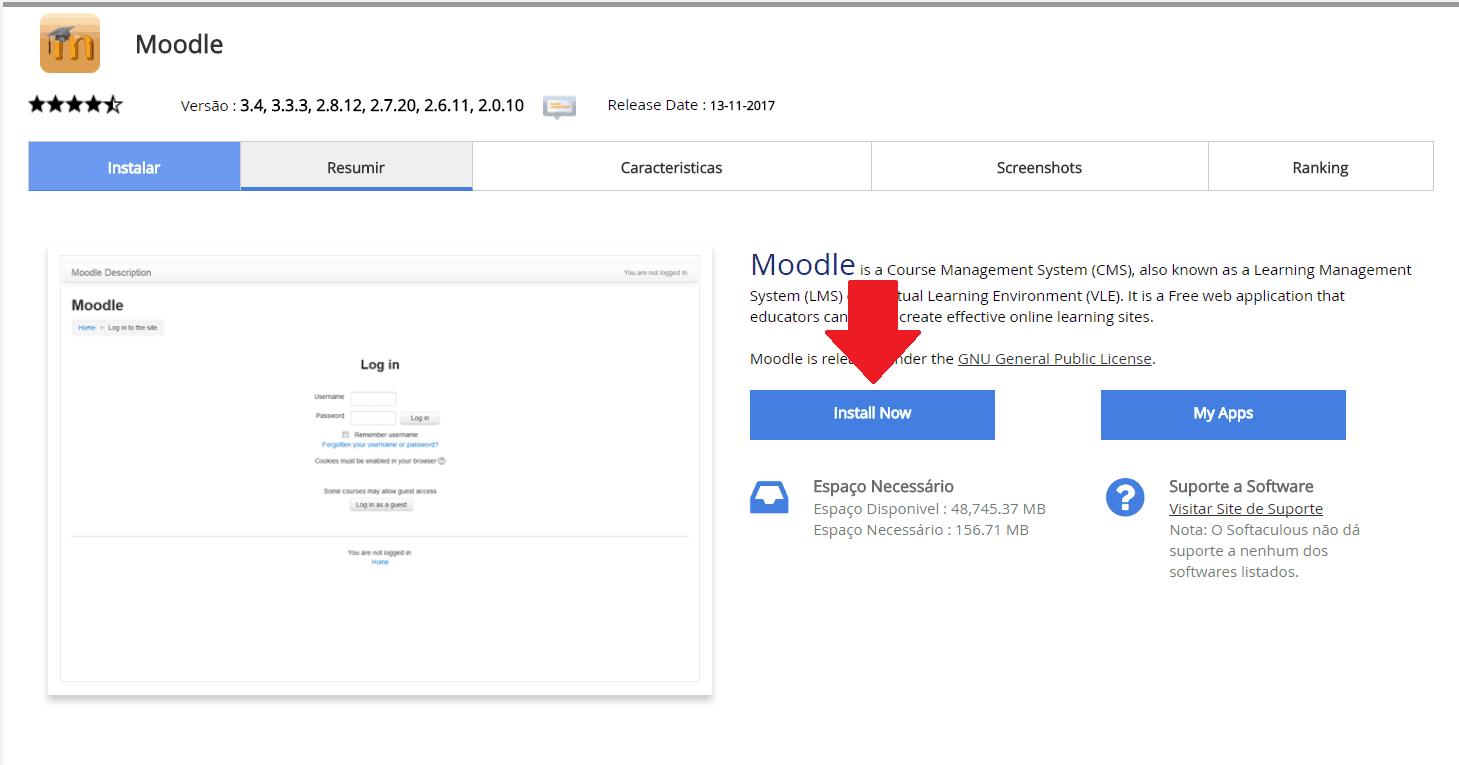 Instalador instalação como instalar Moodle