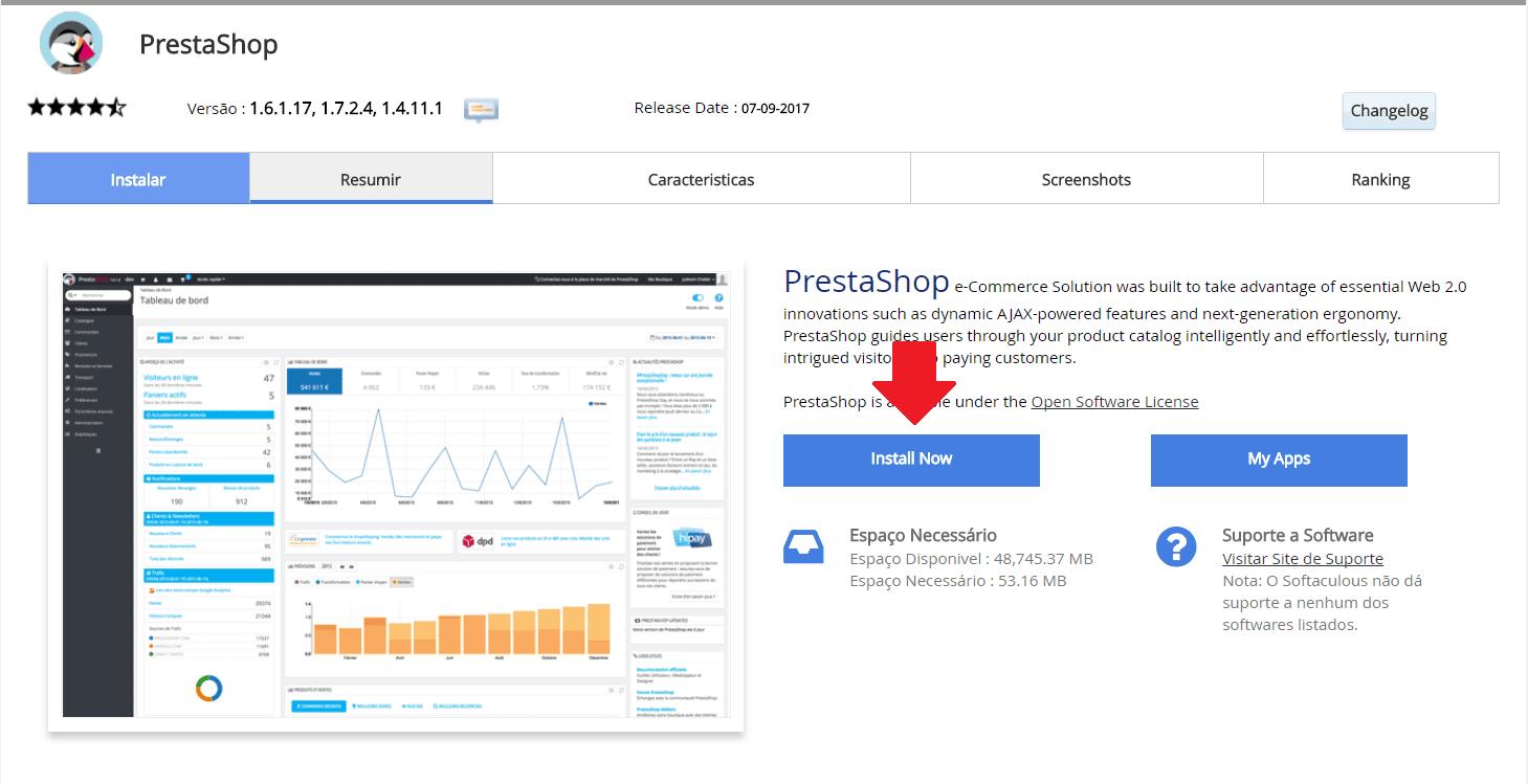 Instalador instalação como instalar PrestaShop