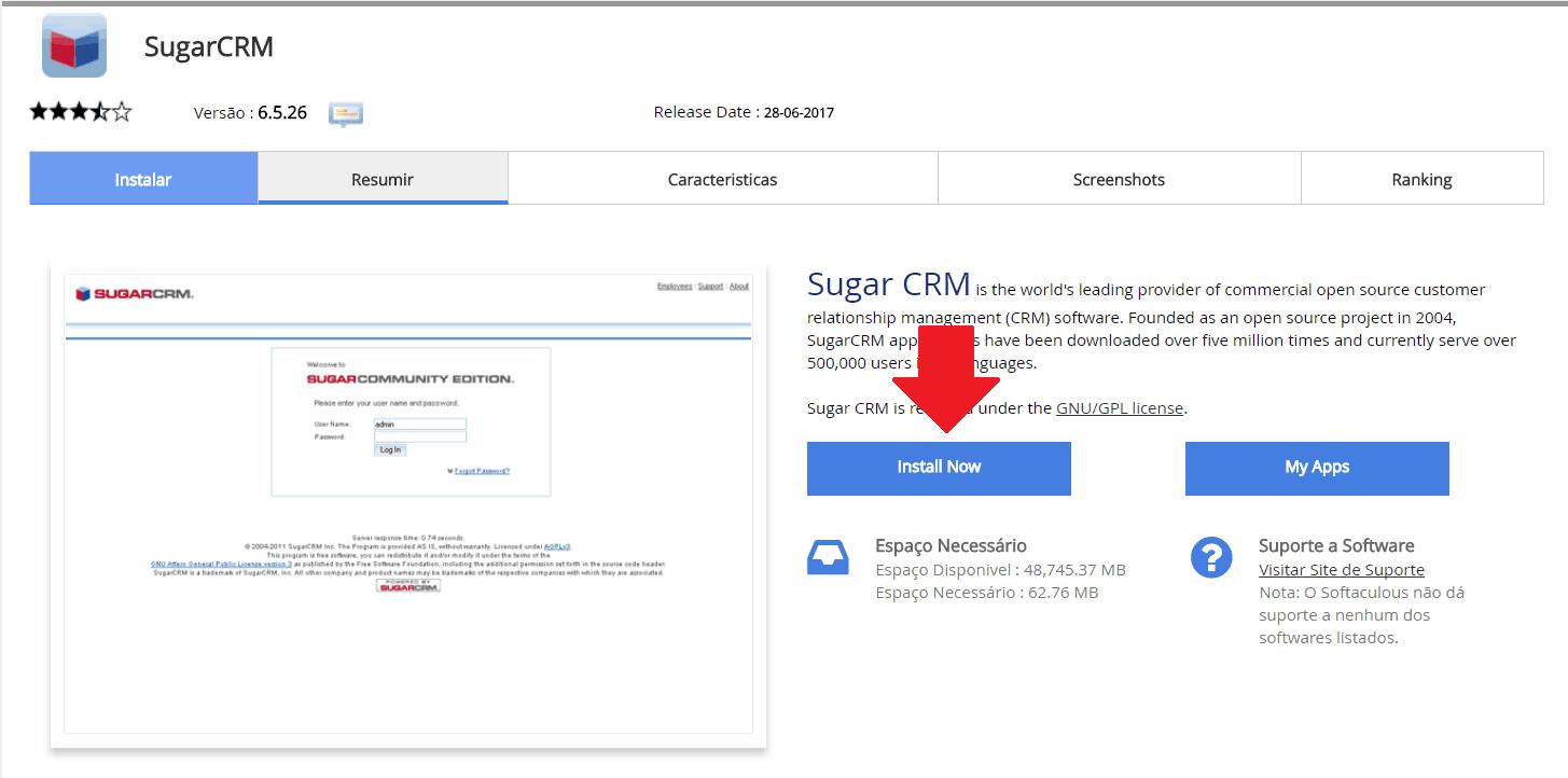 Instalador instalação como instalar SugarCRM