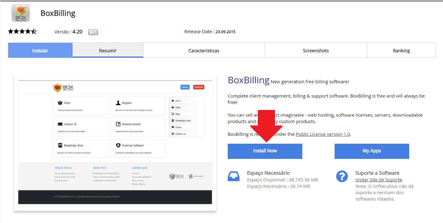 Instalador instalação como instalar Boxbilling