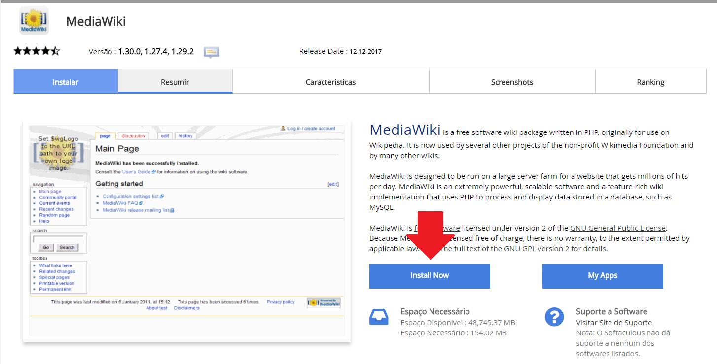 Instalador instalação como instalar MediaWiki