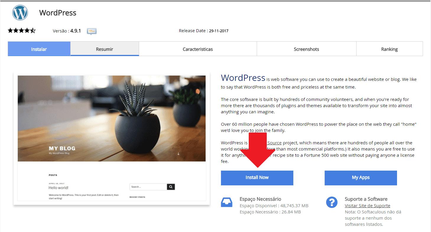 Instalador instalação como instalar WordPress