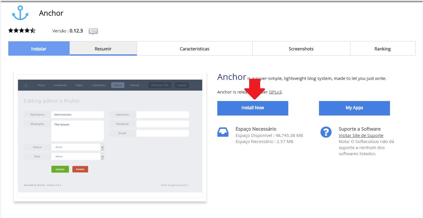 Instalador instalação como instalar Anchor