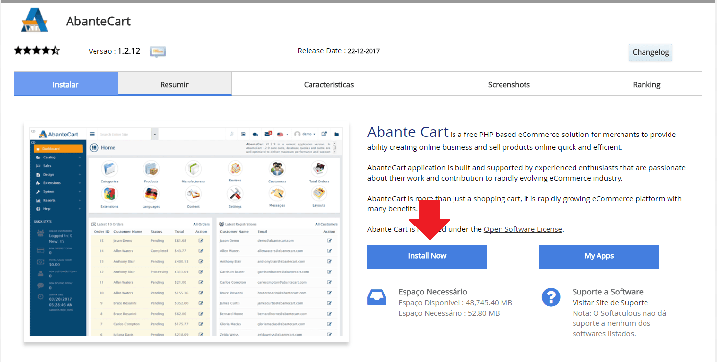 Instalador instalação como instalar AbanteCart
