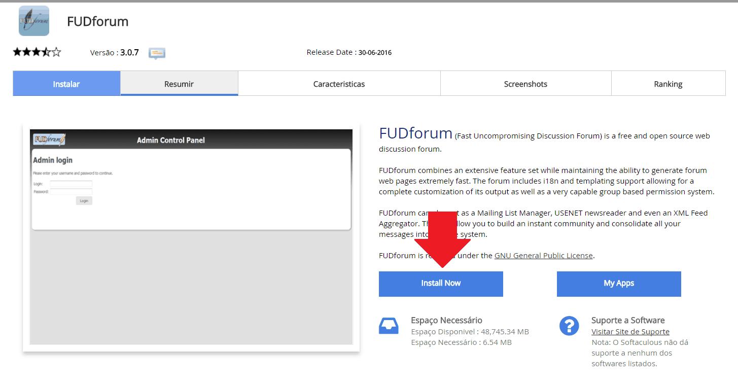 Instalador instalação como instalar FUDforum