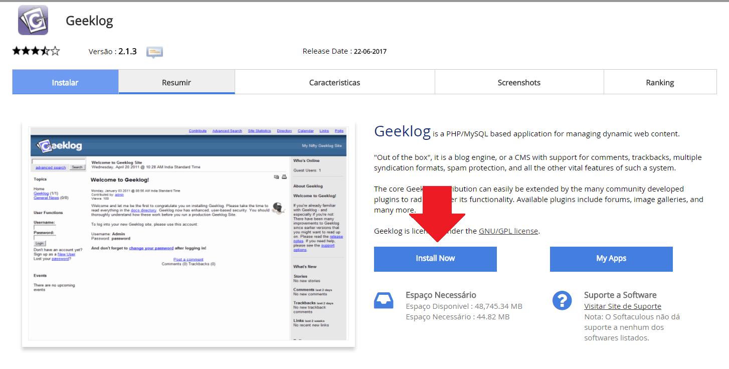 Instalador instalação como instalar Geeklog