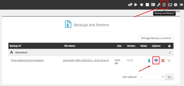 Restaurar backup da plataforma no Softaculous